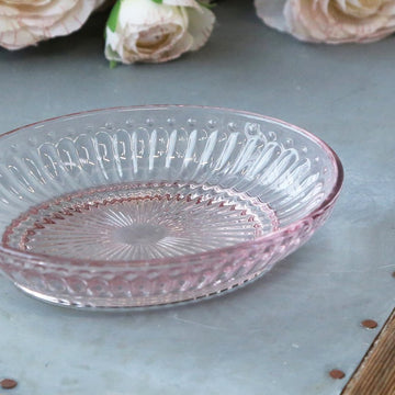PINK GLASS SOAP DISH WITH PEARL GLASS EDGE
