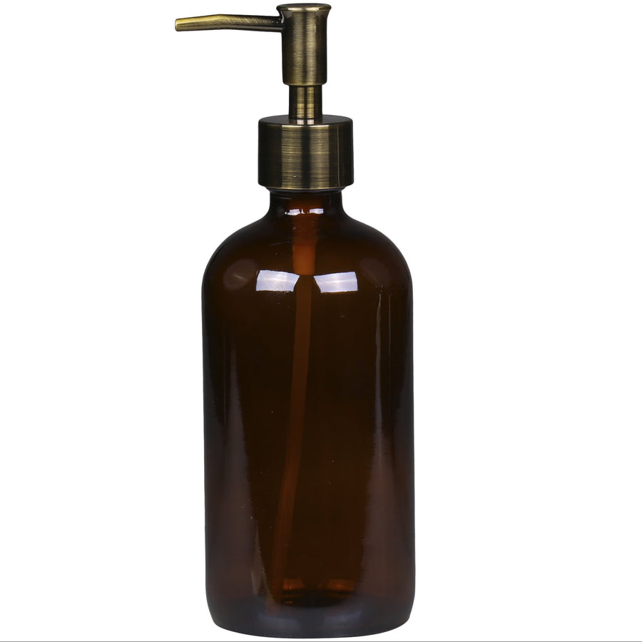 BROWN GLASS REFILLABLE BOTTLE WITH 2 PUMPS