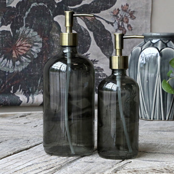 DARK GREY GLASS REFILLABLE BOTTLE WITH 2 PUMPS