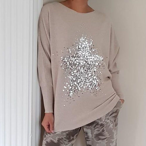 BATWING SEQUIN STAR RIBBED JUMPER | OATMEAL
