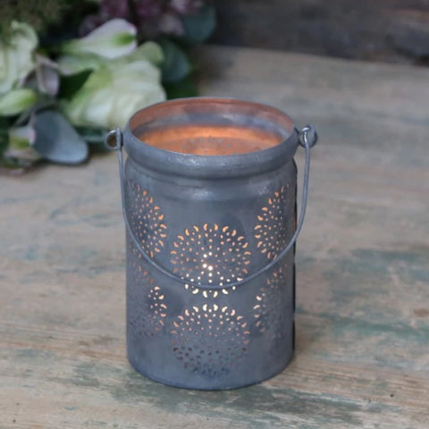 HANGING HURRICANE LAMP WITH PATTERN