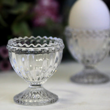 GLASS EGG CUP WITH PEARL EDGE