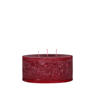 RUSTIC SHORT 3 WICK CANDLE | DARK RED