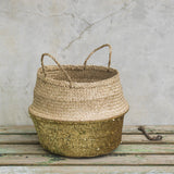SEAGRASS SEQUIN BASKET | GOLD