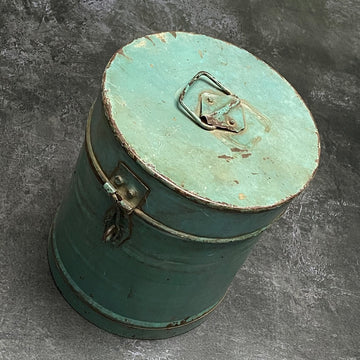 VINTAGE INDIAN BLUE PAINTED METAL STORAGE CANISTER | LARGE