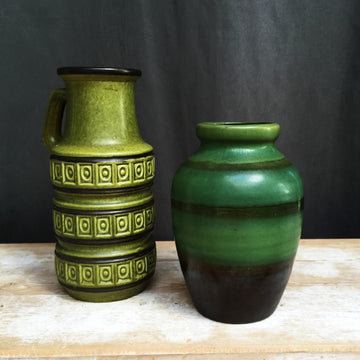 VINTAGE GREEN WEST GERMAN VASES