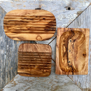 OLIVE WOOD SOAP DISH
