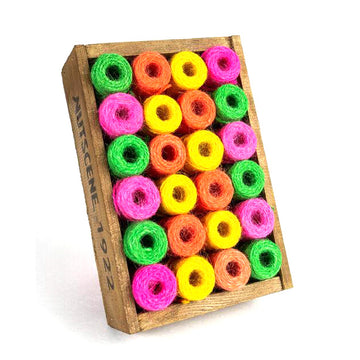 CRATE OF 24 MINI JUTE TWINE SPOOLS IN 4 NEON COLOURS