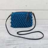 WOOL CROCHET BOBBLE CROSS BODY ZIP PURSE WITH STRAP
