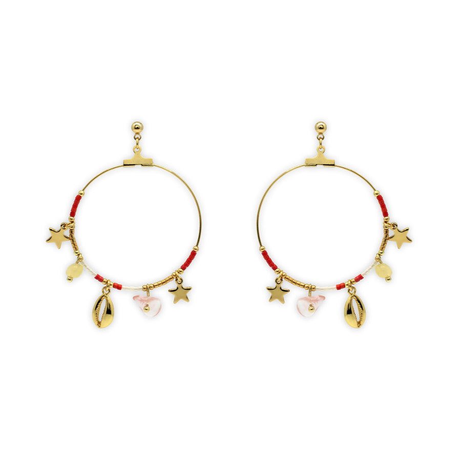 PEQUI CHARM HOOP EARRINGS