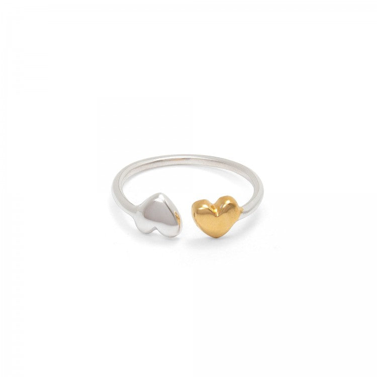 DOUBLE HEARTS SILVER & GOLD CHARM RING | ADJUSTABLE