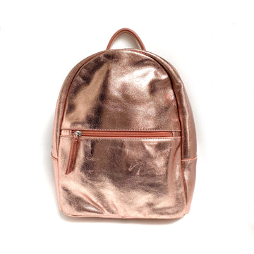 METALLIC ROSE GOLD LEATHER BACKPACK