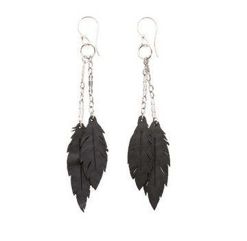 RECYCLED RUBBER DANGLE FEATHER EARRINGS