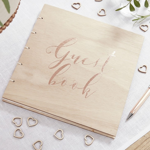 WOOD & ROSE GOLD GUEST BOOK