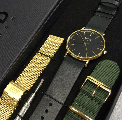 SERIES 3 GOLD METAL BLACK FACE WATCH | 3 STRAPS