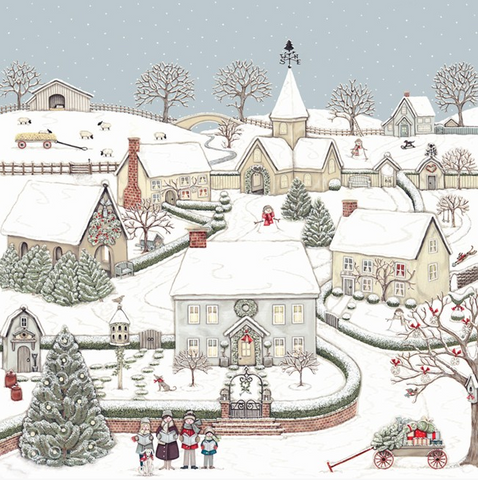 PACK 8 CARDS | SNOWY CHRISTMAS VILLAGE