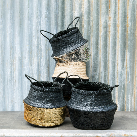 SEAGRASS SEQUIN BASKET | BLACK