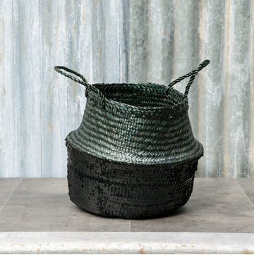 SEAGRASS SEQUIN BASKET | BLACK & BLACK