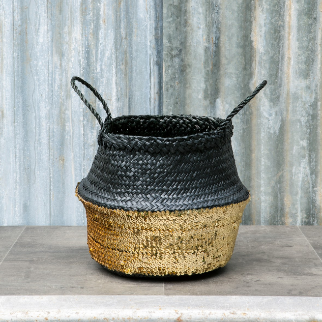 SEAGRASS SEQUIN BASKET | BLACK & GOLD