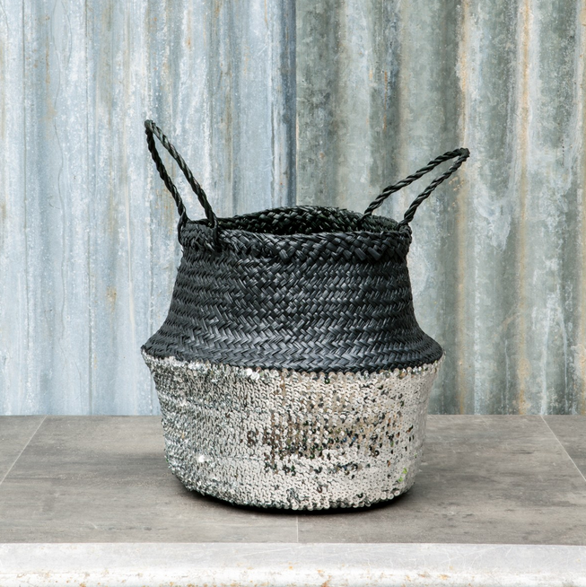 SEAGRASS SEQUIN BASKET | BLACK & SILVER