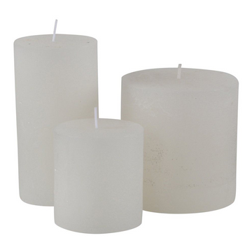 WHITE RUSTIC PILLAR CANDLE