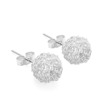 CROCHETED SILVER STUD EARRINGS