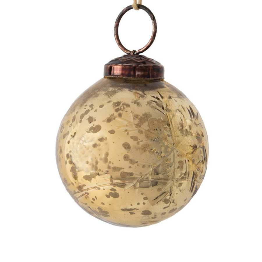 ETCHED SNOWFLAKE GOLD BAUBLE DECORATION