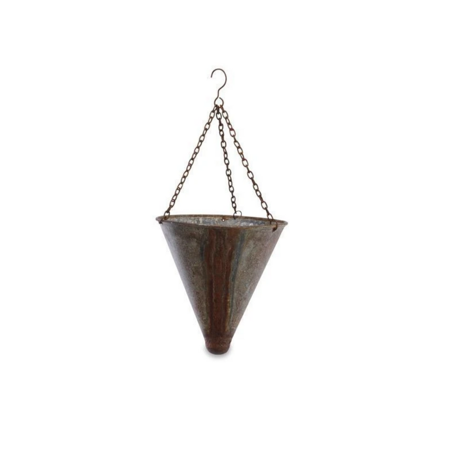 ABARI TAPERED HANGING PLANTER | AGED ZINC