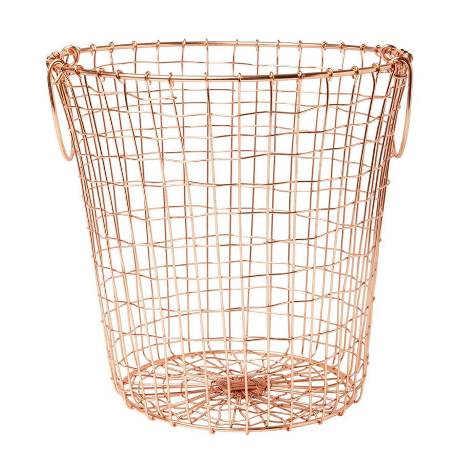 ROUND COPPER WIRE MESH BASKET WITH HANDLES