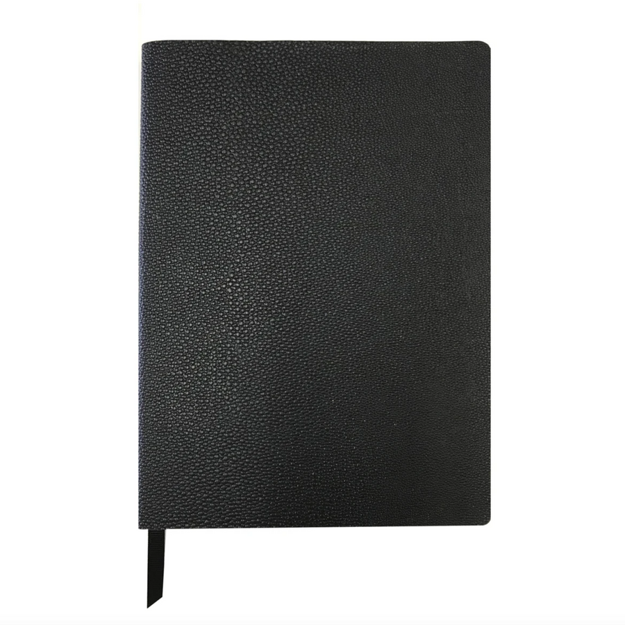 BLACK PEBBLE FAUX LEATHER A5 NOTEBOOK
