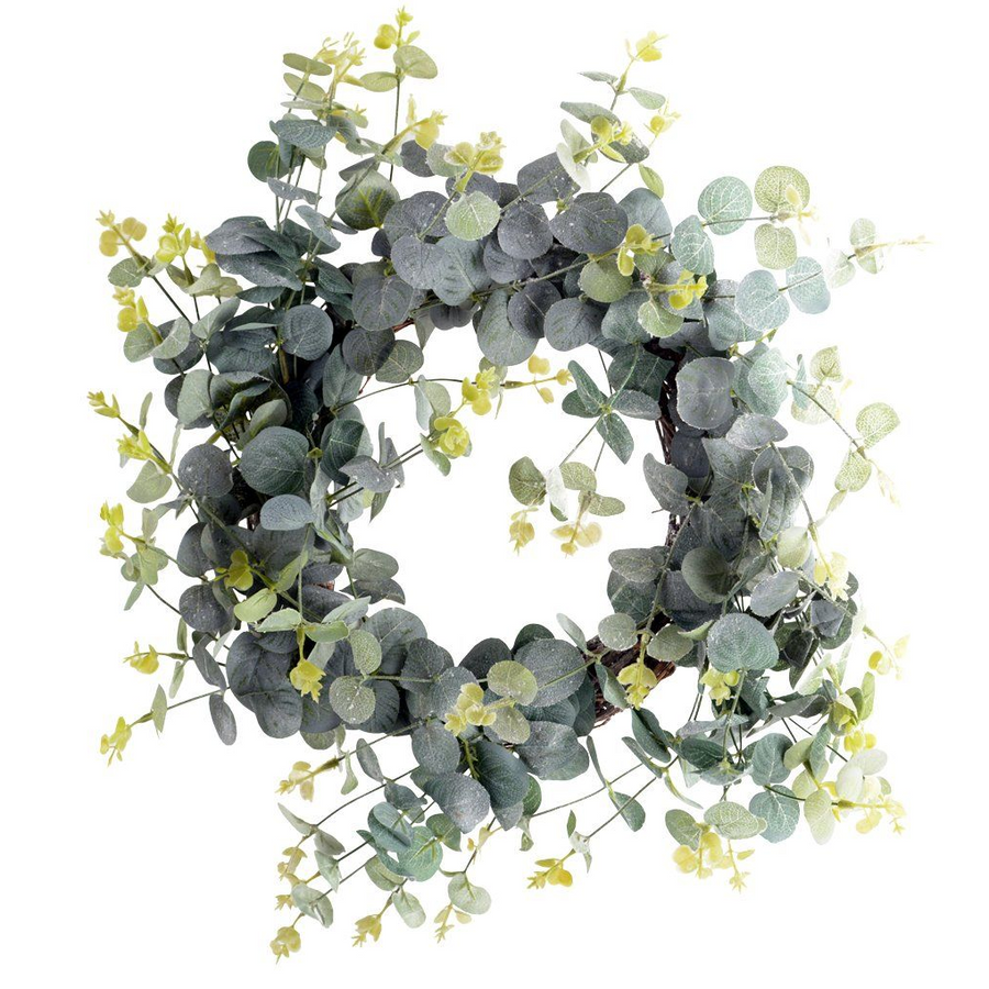FROSTED FAUX EUCALYPTUS WREATH