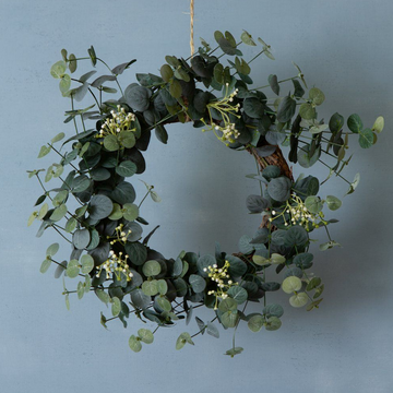 FAUX EUCALYPTUS & WHITE FLOWER WREATH