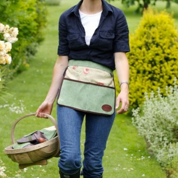 FLORAL ENGLISH LEATHER & LINEN HALF APRON