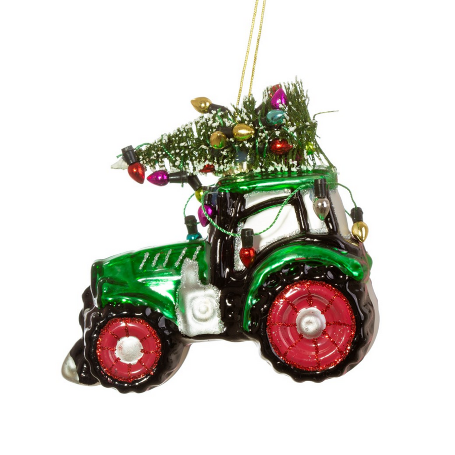 FESTIVE TRACTOR GLASS BAUBLE