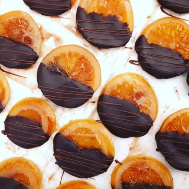 NOBLE & STACE ORANGE CONFIT SLICES DIPPED IN DARK CHOCOLATE