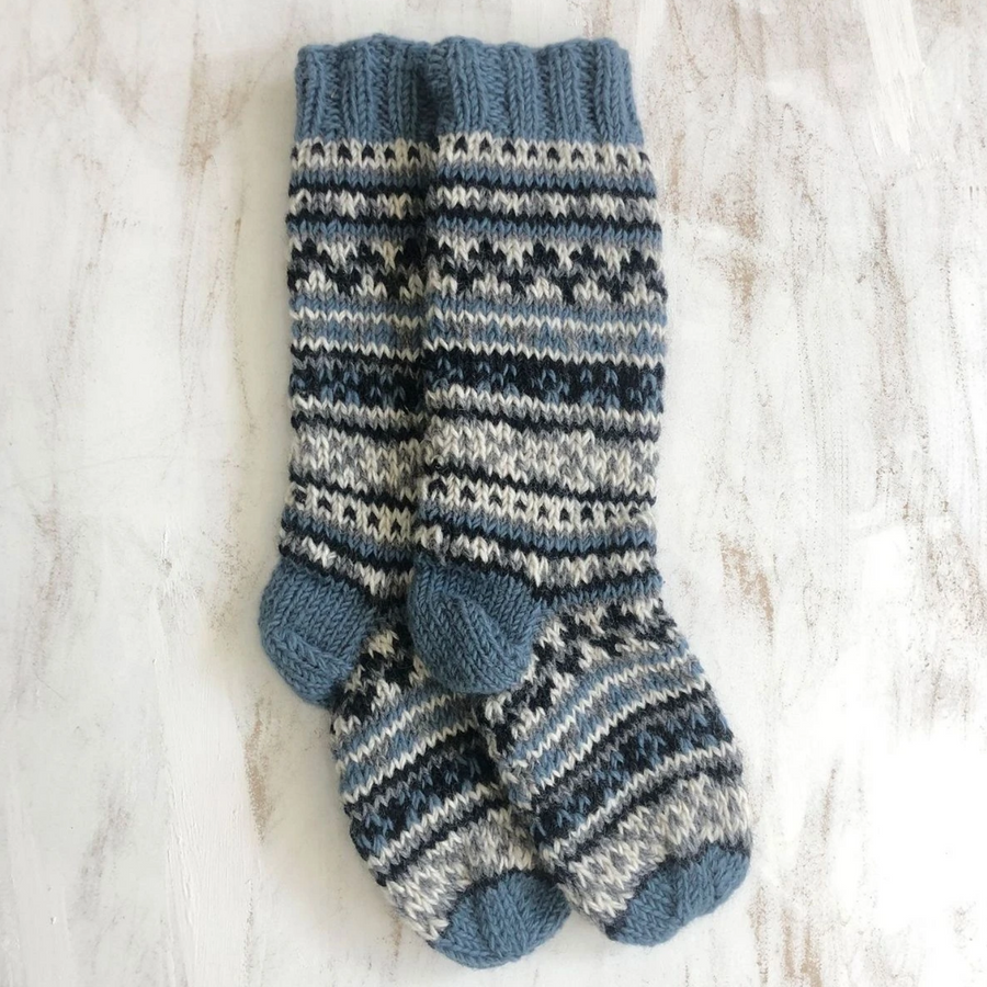 FAIR ISLE KNIT WOOL LINED SLIPPER SOCKS