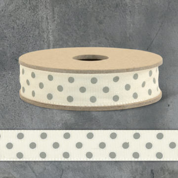 3 METRE DOTTY RIBBON SPOOL | CREAM WITH GREY DOTS