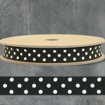 RIBBON BY THE METRE | BLACK WITH CREAM DOTS