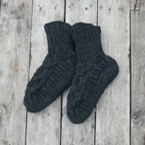 CABLE KNIT WOOL JERSEY LINED SLIPPER SOCKS