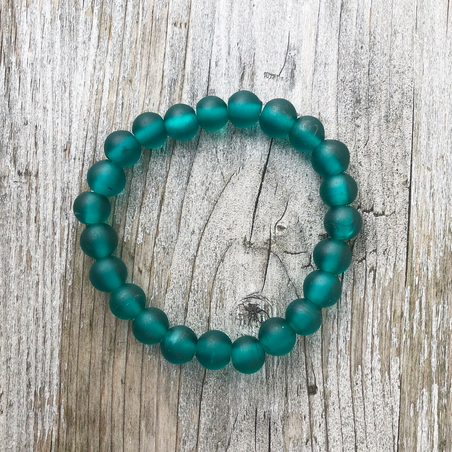 RECYCLED TRANSLUCENT GLASS BEAD BRACELET