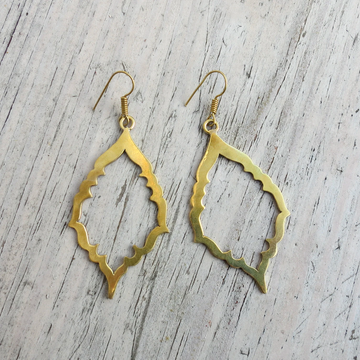 HANDMADE BRASS CUT METAL EARRINGS