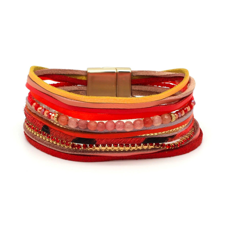 TUKO RED LEATHER MAGNET BRACELET