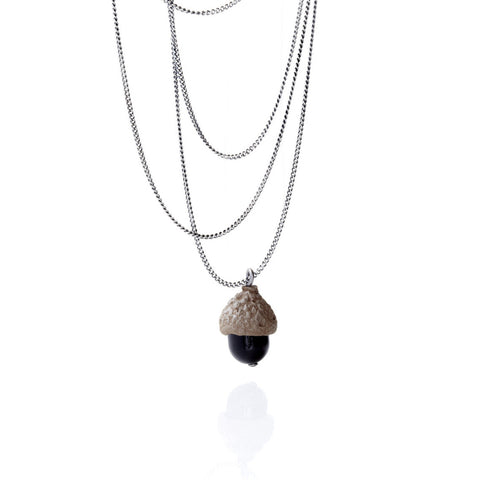 BLACK ACORN NECKLACE