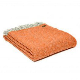 PURE NEW WOOL THROW WITH FRINGE | PUMPKIN
