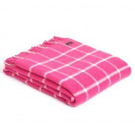 PURE NEW WOOL CHEQUERED CHECK THROW | PINK