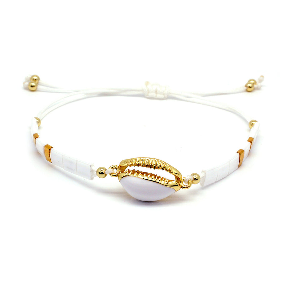 WOLFBERRY SHELL WHITE TILA BEAD FRIENDSHIP BRACELET
