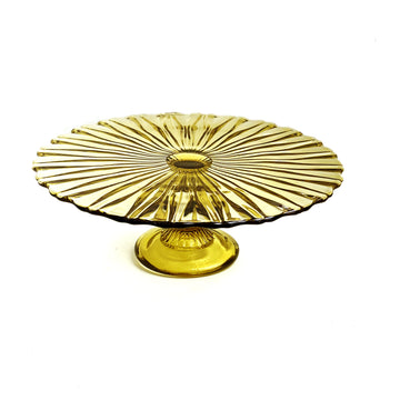VINTAGE GLASS CAKESTAND | YELLOW