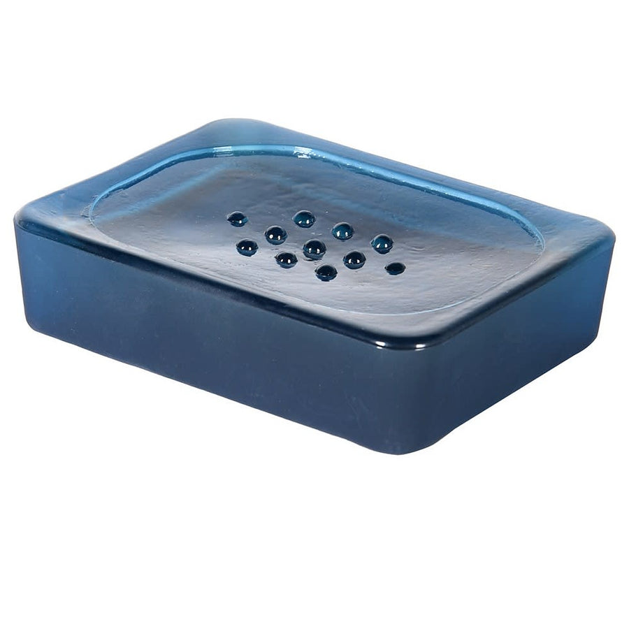 RECYCLED FROSTED BLUE SOAP DISH