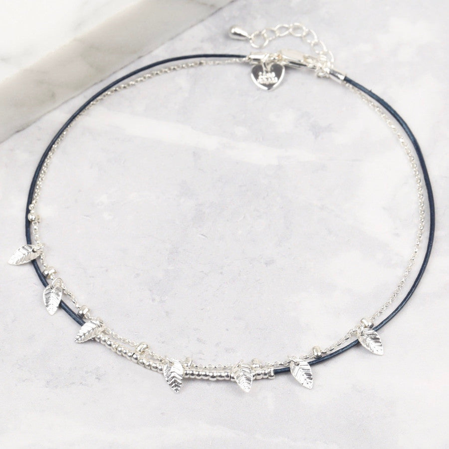 BLUE LEATHER & SILVER CHARMS ANKLET