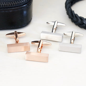 BRUSHED BAR CUFFLINKS